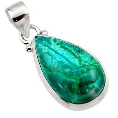 12.15cts natural green chrysocolla 925 sterling silver pendant jewelry r46564