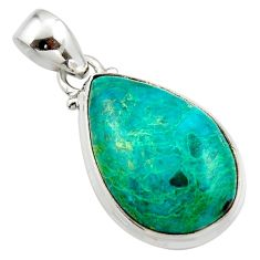 12.98cts natural green chrysocolla 925 sterling silver pendant jewelry r46566