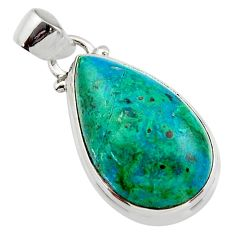 15.18cts natural green chrysocolla 925 sterling silver pendant jewelry r46567