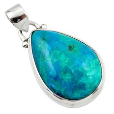 12.18cts natural green chrysocolla 925 sterling silver pendant jewelry r46569