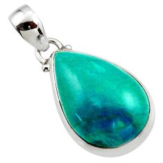 14.35cts natural green chrysocolla 925 sterling silver pendant jewelry r46574