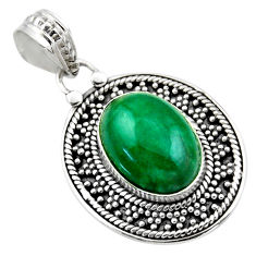6.29cts natural green chrysocolla 925 sterling silver pendant jewelry r53145