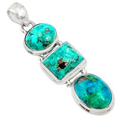 18.70cts natural green chrysocolla 925 sterling silver pendant jewelry r72961