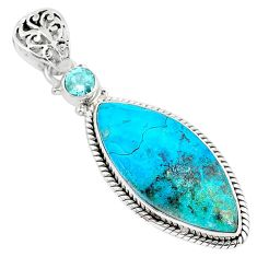 16.73cts natural green chrysocolla 925 sterling silver pendant jewelry r94373