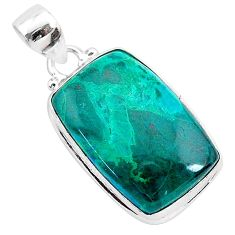 16.20cts natural green chrysocolla 925 sterling silver pendant jewelry r94894