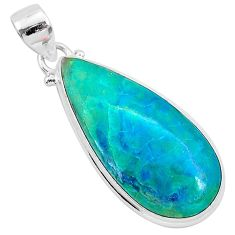 14.12cts natural green chrysocolla 925 sterling silver pendant jewelry r94897
