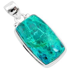 17.22cts natural green chrysocolla 925 sterling silver pendant jewelry r94898