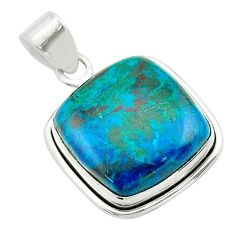 18.68cts natural green chrysocolla 925 sterling silver pendant jewelry t53855