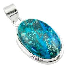 19.72cts natural green chrysocolla 925 sterling silver pendant jewelry t53860