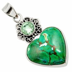 22.59cts natural green chrysocolla amethyst 925 sterling silver pendant d45263