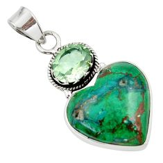 18.70cts natural green chrysocolla amethyst 925 sterling silver pendant d45266