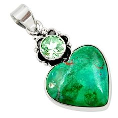 Clearance Sale- 16.70cts natural green chrysocolla amethyst 925 sterling silver pendant d45271