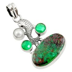 Clearance Sale- 22.73cts natural green chrysocolla chalcedony 925 silver fish pendant d45270