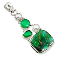 Clearance Sale- 16.17cts natural green chrysocolla chalcedony 925 sterling silver pendant d45262