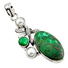 20.15cts natural green chrysocolla pearl 925 silver dragonfly pendant d45265