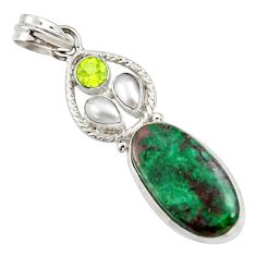 Clearance Sale- 18.46cts natural green chrysocolla peridot pearl 925 silver pendant d45306