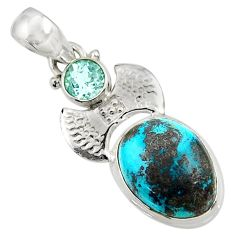 Clearance Sale- 10.33cts natural green chrysocolla topaz 925 sterling silver pendant d44930