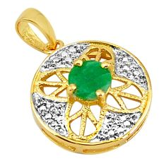 Natural green emerald 925 sterling silver 14k gold pendant jewelry c22799