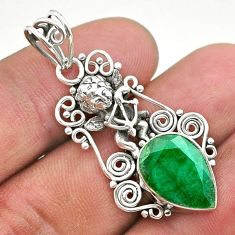 6.24cts natural green emerald 925 sterling silver angel pendant jewelry t40766