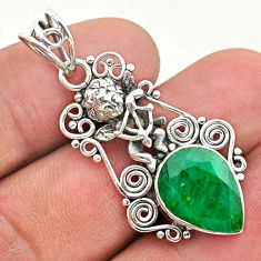 6.10cts natural green emerald 925 sterling silver angel pendant jewelry t40788