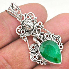6.08cts natural green emerald 925 sterling silver angel pendant jewelry t40791