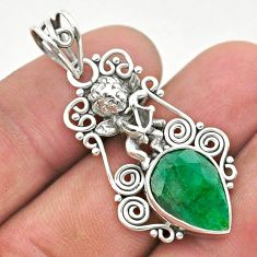 6.18cts natural green emerald 925 sterling silver angel pendant jewelry t40794