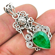5.87cts natural green emerald 925 sterling silver angel pendant jewelry t40797