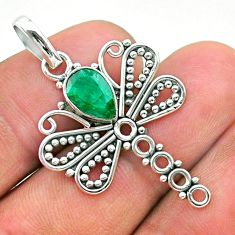 1.96cts natural green emerald 925 sterling silver dragonfly pendant t32907