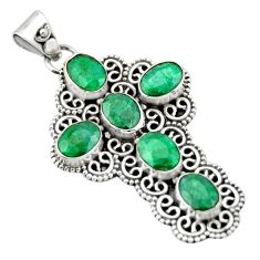 9.14cts natural green emerald 925 sterling silver holy cross pendant r20770