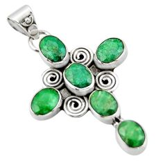 9.04cts natural green emerald 925 sterling silver holy cross pendant r20772