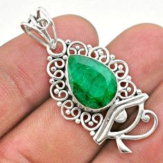 5.79cts natural green emerald 925 sterling silver horse eye pendant t40761