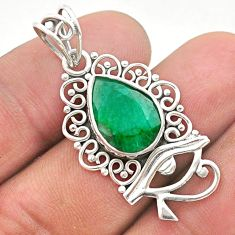 6.04cts natural green emerald 925 sterling silver horse eye pendant t40792
