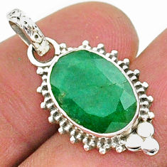 5.51cts natural green emerald 925 sterling silver pendant jewelry t35821