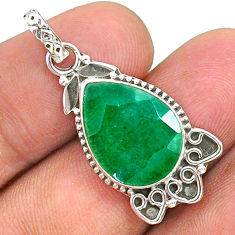 8.73cts natural green emerald 925 sterling silver pendant jewelry t35844