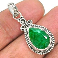 4.18cts natural green emerald 925 sterling silver pendant jewelry t35845