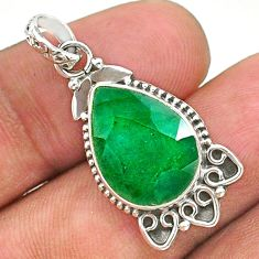 8.26cts natural green emerald 925 sterling silver pendant jewelry t35850