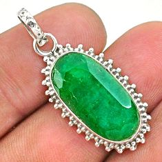 9.18cts natural green emerald 925 sterling silver pendant jewelry t35885