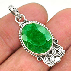 8.26cts natural green emerald 925 sterling silver pendant jewelry t35886