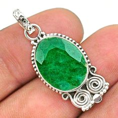 8.07cts natural green emerald 925 sterling silver pendant jewelry t35888