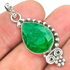 9.16cts natural green emerald 925 sterling silver pendant jewelry t35903