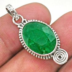 8.00cts natural green emerald 925 sterling silver pendant jewelry t40841