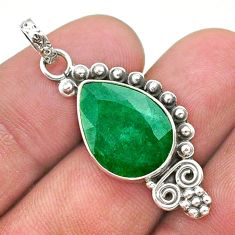 8.32cts natural green emerald 925 sterling silver pendant jewelry t40844