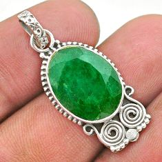 7.24cts natural green emerald 925 sterling silver pendant jewelry t40846