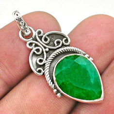 8.77cts natural green emerald 925 sterling silver pendant jewelry t40848