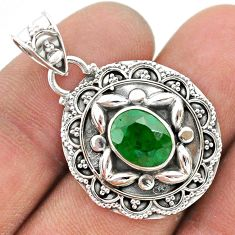 3.14cts natural green emerald 925 sterling silver pendant jewelry t42927