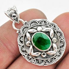 3.14cts natural green emerald 925 sterling silver pendant jewelry t42929