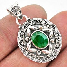 2.81cts natural green emerald 925 sterling silver pendant jewelry t42930