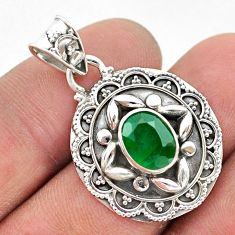 2.98cts natural green emerald 925 sterling silver pendant jewelry t42932