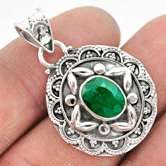 3.14cts natural green emerald 925 sterling silver pendant jewelry t42933