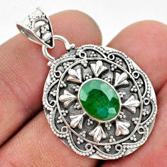 3.28cts natural green emerald 925 sterling silver pendant jewelry t42950